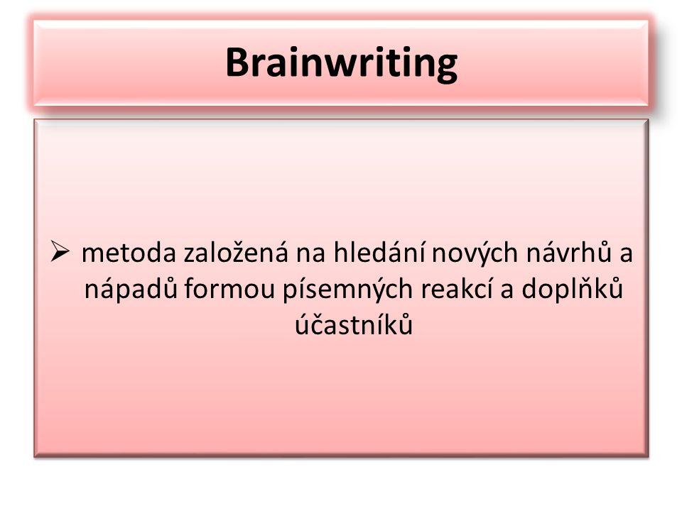 je psaná podoba brainstormingu na rozdíl od brainstormingu, který od začátku až do konce pracuje se skupinou lidí, brainwriting začíná u jednotlivce každý sám s papírem v ruce má za úkol napsat v určitém čase co nejvíce nápadů týkajících se řešeného problému tyto nápady se potom přepíší na společnou tabuli - flipchart Brainwriting