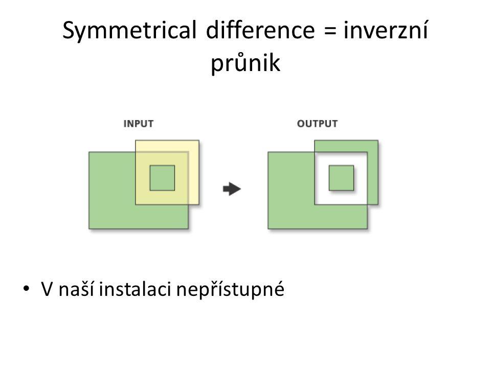 Symmetrical difference = inverzní průnik V naší instalaci nepřístupné