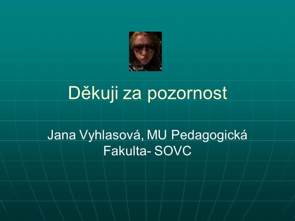 Děkuji za pozornost Jana Vyhlasová, MU Pedagogická Fakulta- SOVC