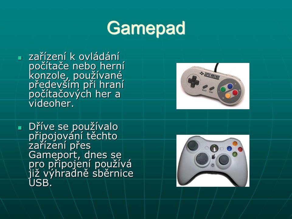 Gamepad zařízení k ovládání počítače nebo herní konzole, používané především při hraní počítačových her a videoher. zařízení k ovládání počítače nebo