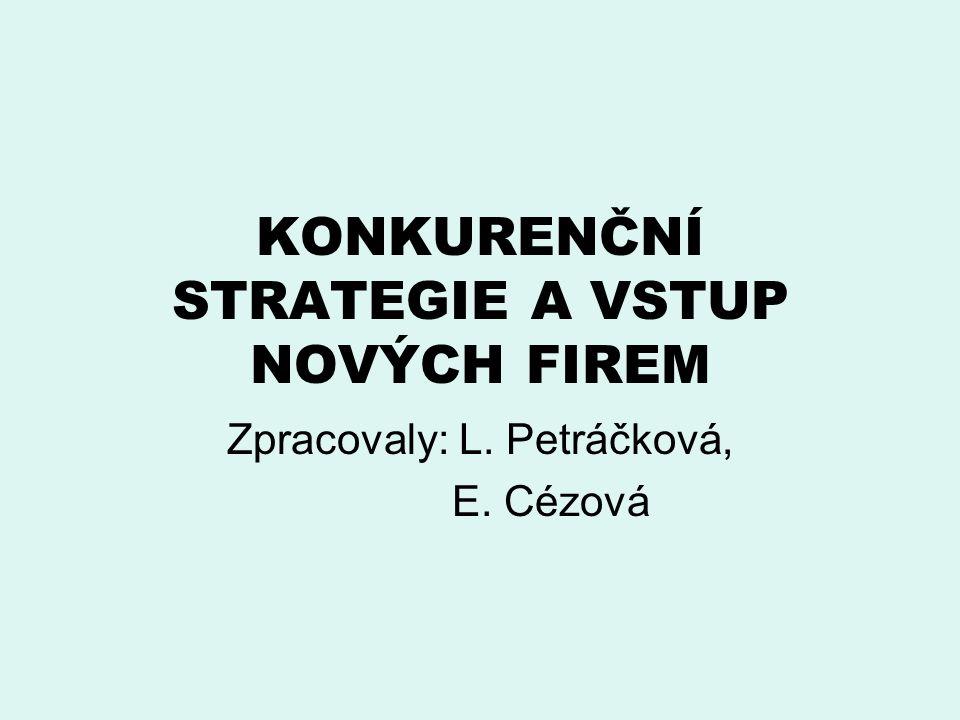 KONKURENČNÍ STRATEGIE A VSTUP NOVÝCH FIREM Zpracovaly: L. Petráčková, E. Cézová