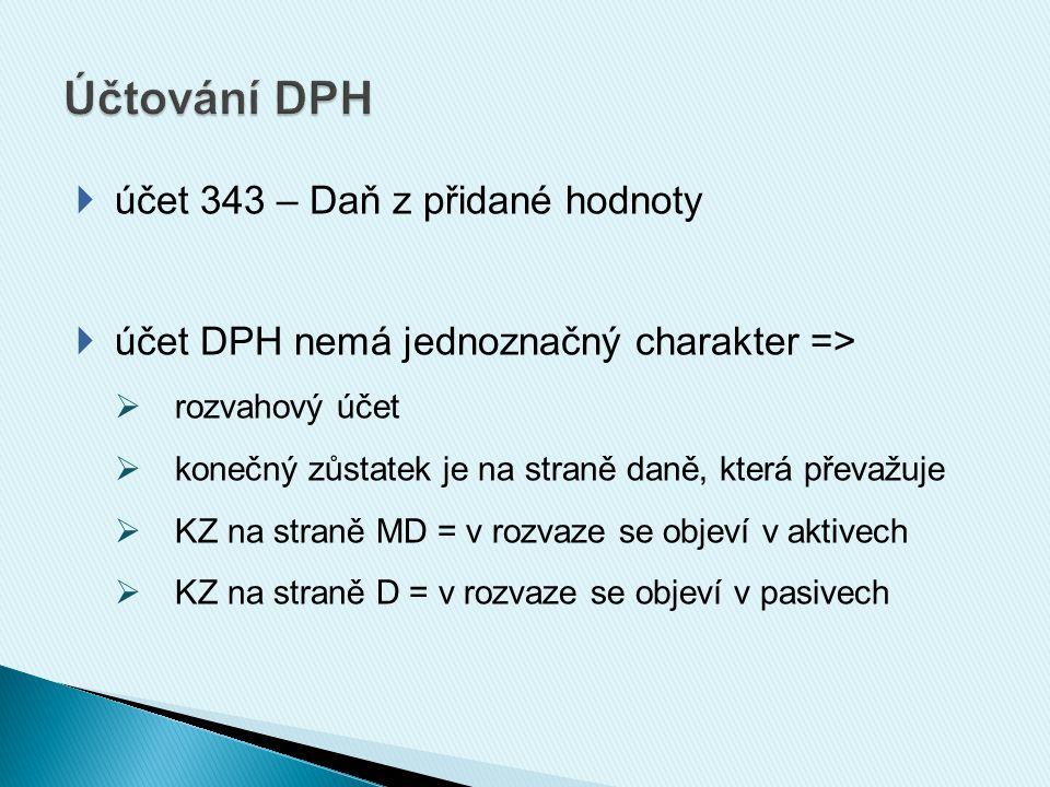  účet 343 – Daň z přidané hodnoty  účet DPH nemá jednoznačný charakter =>  rozvahový účet  konečný zůstatek je na straně daně, která převažuje  KZ na straně MD = v rozvaze se objeví v aktivech  KZ na straně D = v rozvaze se objeví v pasivech