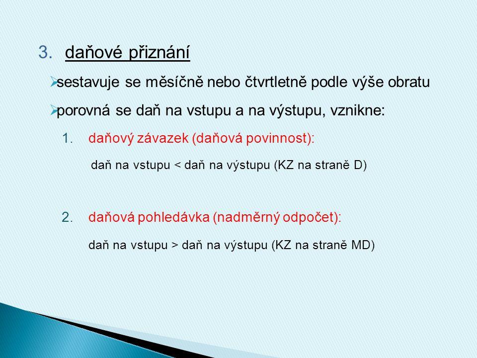 Schéma účtování: PokladnaDPHPokladna BÚ odvod DPH (VPD) nadměrný odpočet (PPD) odvod DPH (výpis BÚ) nadměrný odpočet (výpis BÚ) KZ (MD>D) KZ (MD<D)