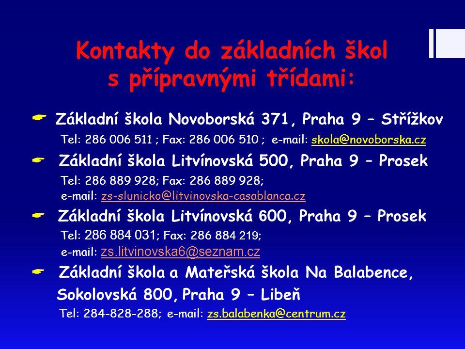 Kontakty do základních škol s přípravnými třídami:  Základní škola Novoborská 371, Praha 9 – Střížkov Tel: 286 006 511 ; Fax: 286 006 510 ; e-mail: s