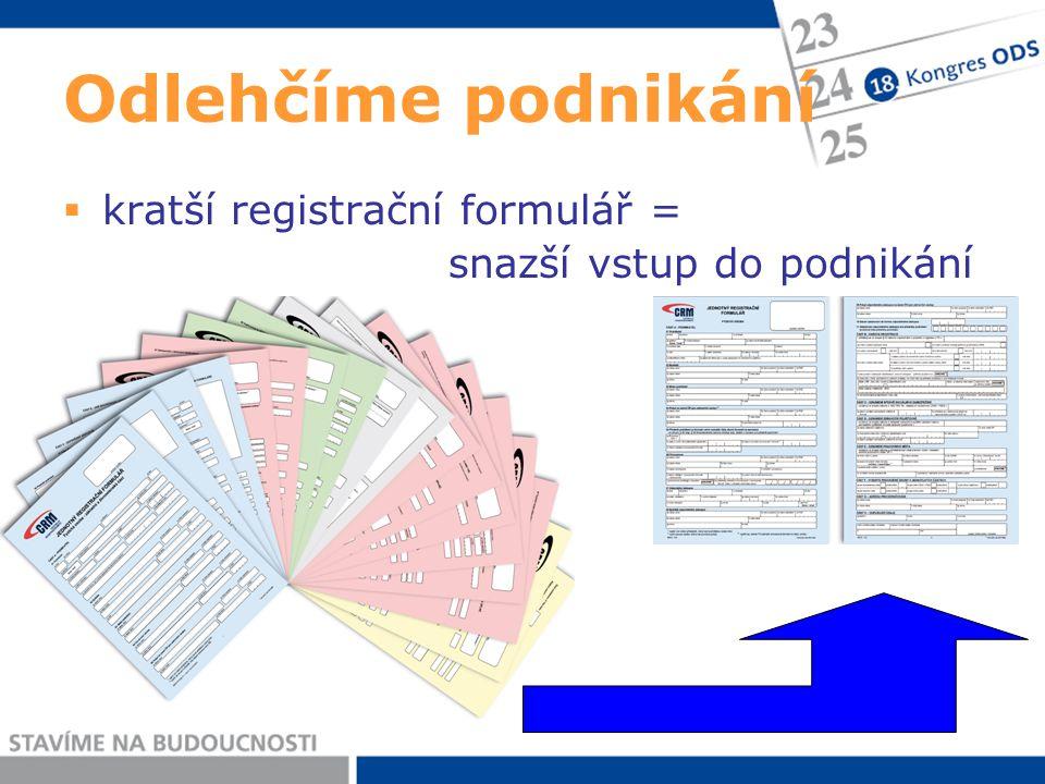 Odlehčíme podnikání  kratší registrační formulář = snazší vstup do podnikání