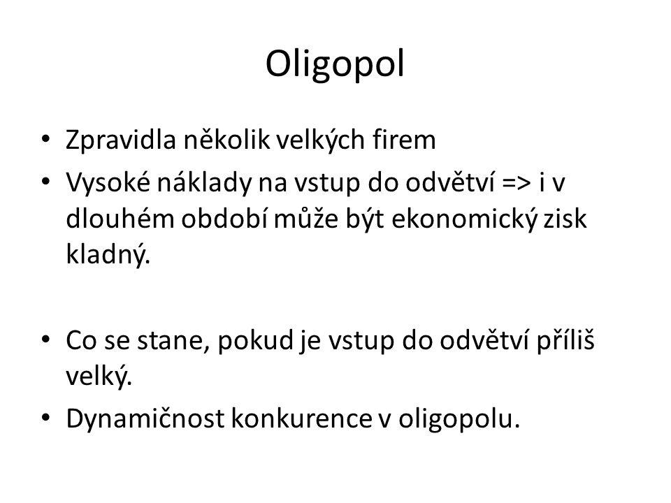 Oligopol Zpravidla několik velkých firem Vysoké náklady na vstup do odvětví => i v dlouhém období může být ekonomický zisk kladný.