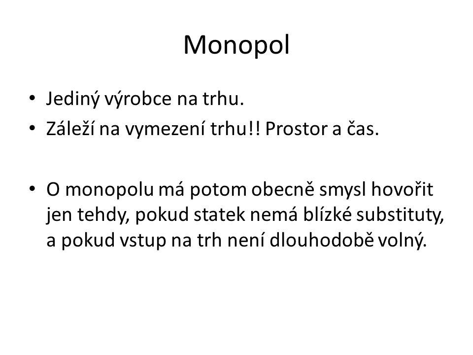 Monopol Jediný výrobce na trhu.Záleží na vymezení trhu!.