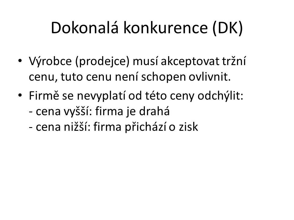 Dokonalá konkurence (DK) Výrobce (prodejce) musí akceptovat tržní cenu, tuto cenu není schopen ovlivnit.