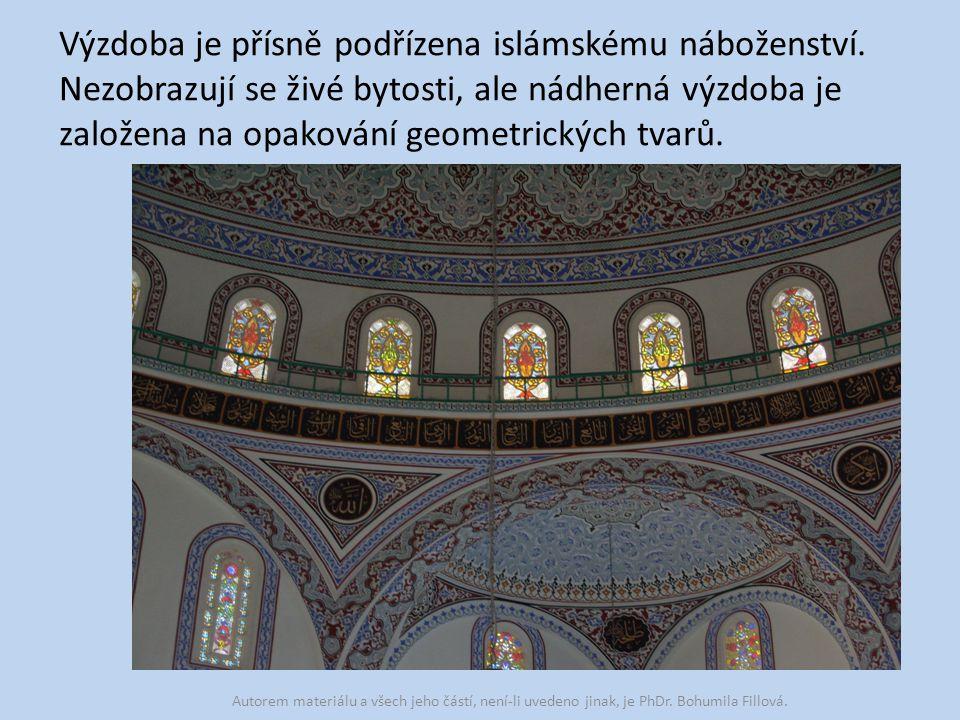 Výzdoba je přísně podřízena islámskému náboženství.