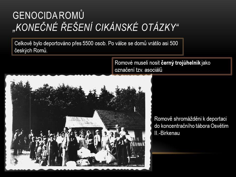 """GENOCIDA ROMŮ """"KONEČNÉ ŘEŠENÍ CIKÁNSKÉ OTÁZKY Romově shromážděni k deportaci do koncentračního tábora Osvětim II.-Birkenau Celkově bylo deportováno přes 5500 osob."""