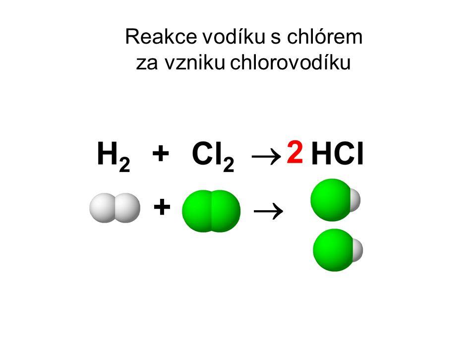 Reakce vodíku s chlórem za vzniku chlorovodíku +  2