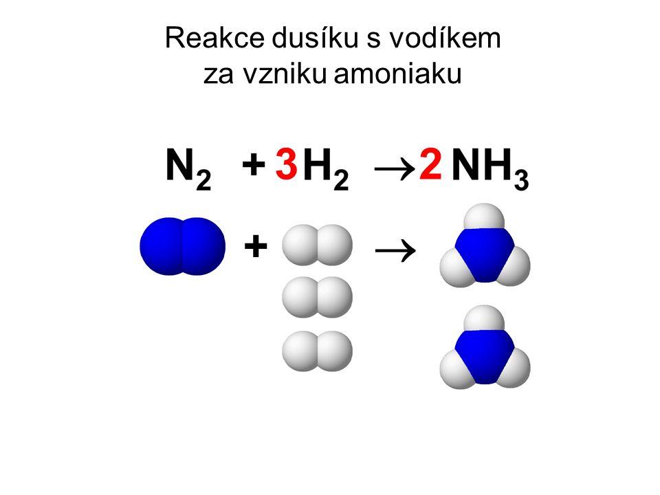 Reakce dusíku s vodíkem za vzniku amoniaku +  32