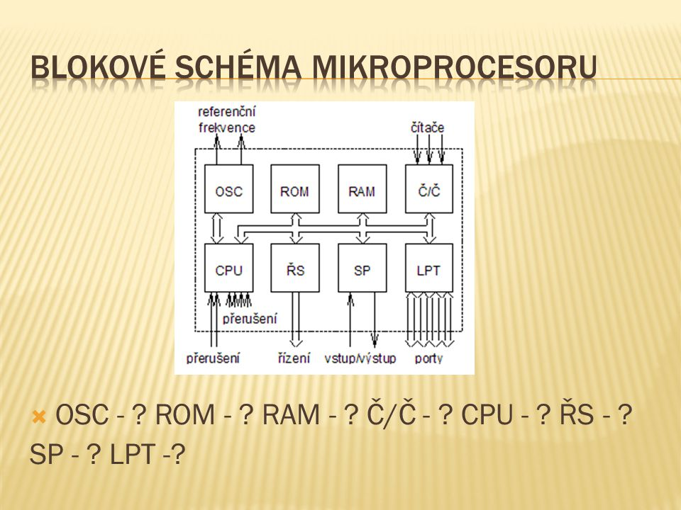  OSC - ? ROM - ? RAM - ? Č/Č - ? CPU - ? ŘS - ? SP - ? LPT -?
