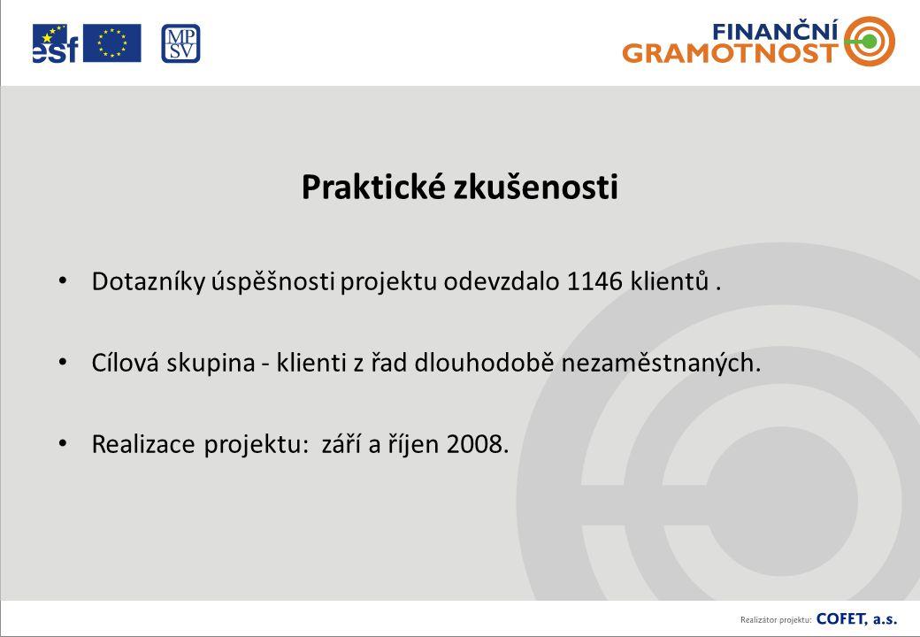 Praktické zkušenosti Dotazníky úspěšnosti projektu odevzdalo 1146 klientů.