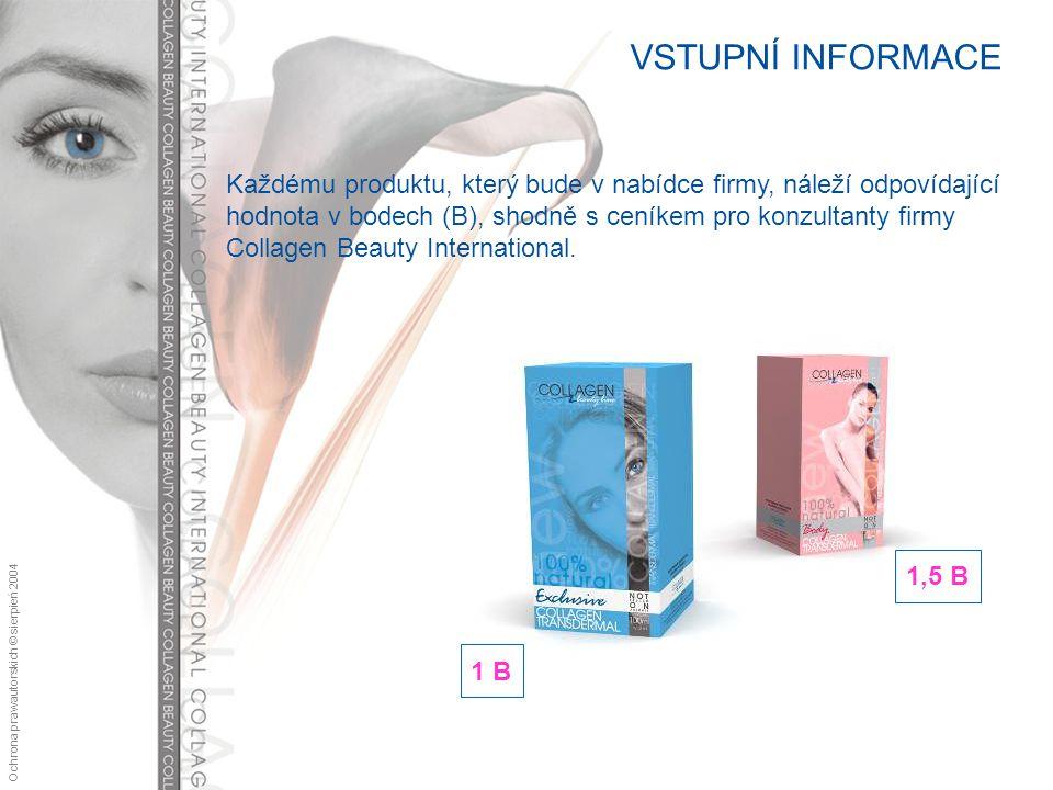 Ochrona praw autorskich © sierpień 2004 VSTUPNÍ INFORMACE Každému produktu, který bude v nabídce firmy, náleží odpovídající hodnota v bodech (B), shodně s ceníkem pro konzultanty firmy Collagen Beauty International.