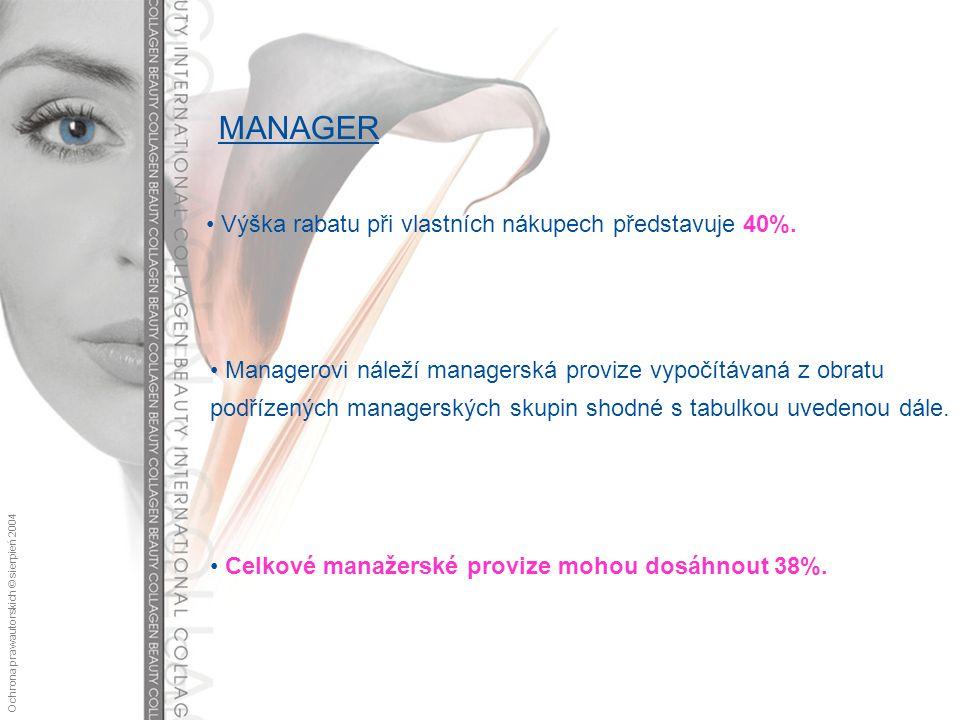 Ochrona praw autorskich © sierpień 2004 MANAGER Výška rabatu při vlastních nákupech představuje 40%.