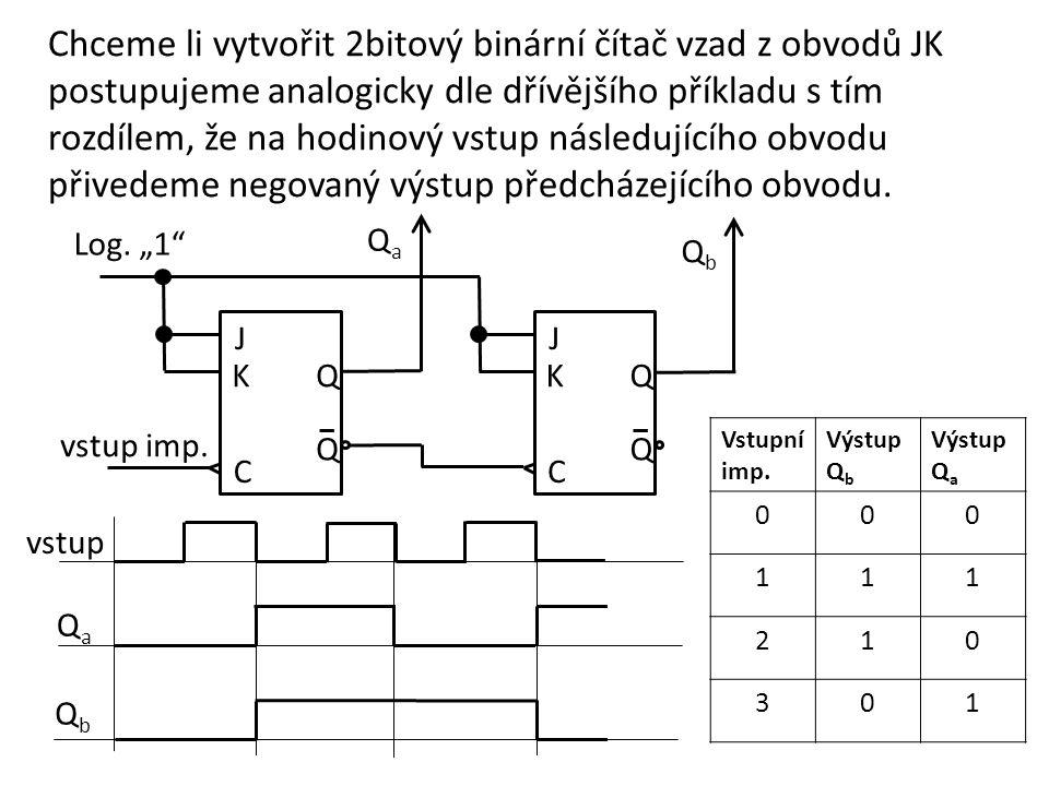 Chceme li vytvořit 2bitový binární čítač vzad z obvodů JK postupujeme analogicky dle dřívějšího příkladu s tím rozdílem, že na hodinový vstup následuj
