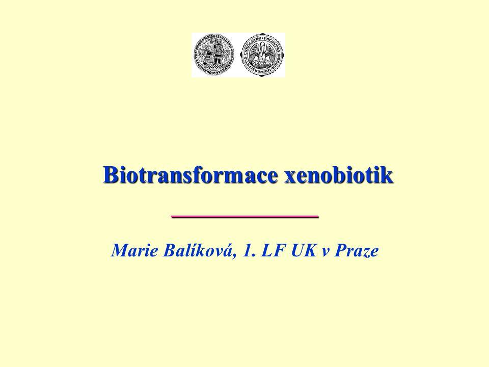 M. Balíková: Biotransformace22 Schéma biotransformace chlorpromazinu