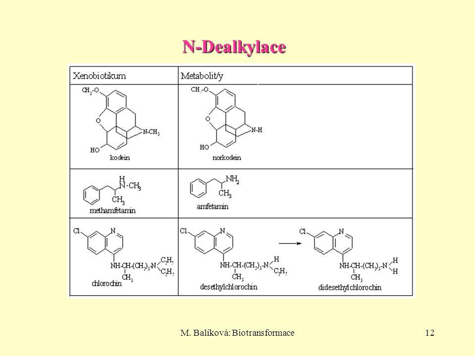 M. Balíková: Biotransformace12 N-Dealkylace