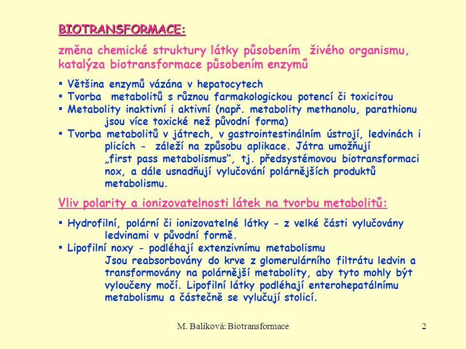 M. Balíková: Biotransformace2 BIOTRANSFORMACE: změna chemické struktury látky působením živého organismu, katalýza biotransformace působením enzymů 