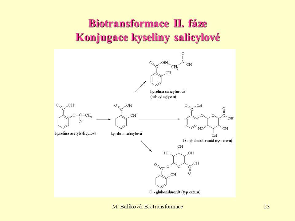 M. Balíková: Biotransformace23 Biotransformace II. fáze Konjugace kyseliny salicylové