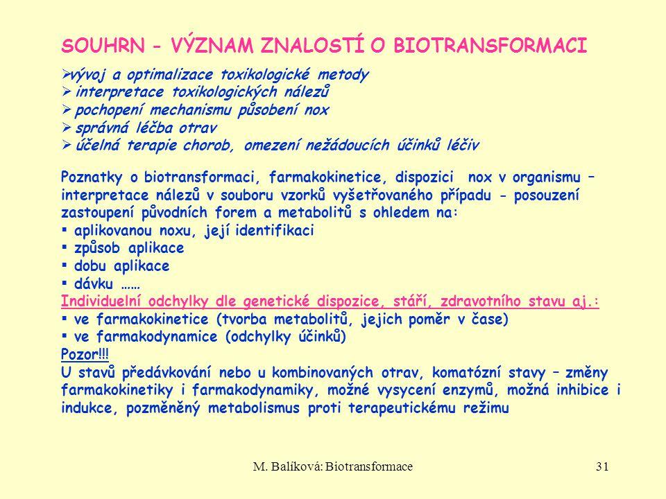 M. Balíková: Biotransformace31 SOUHRN - VÝZNAM ZNALOSTÍ O BIOTRANSFORMACI  vývoj a optimalizace toxikologické metody  interpretace toxikologických n