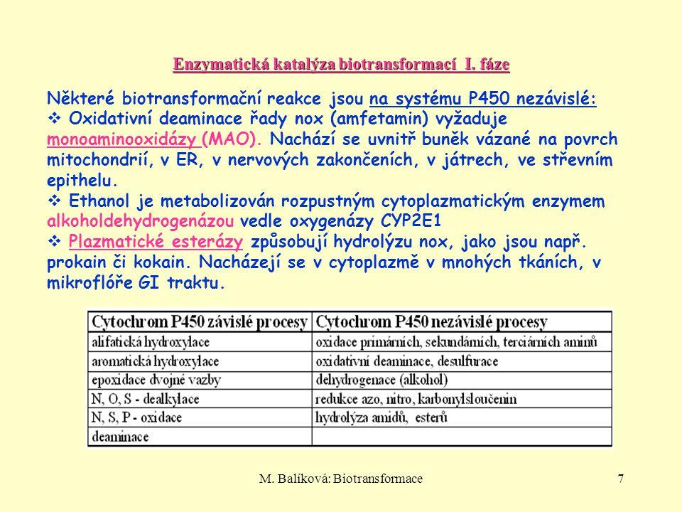M. Balíková: Biotransformace7 Enzymatická katalýza biotransformací I. fáze Některé biotransformační reakce jsou na systému P450 nezávislé:  Oxidativn