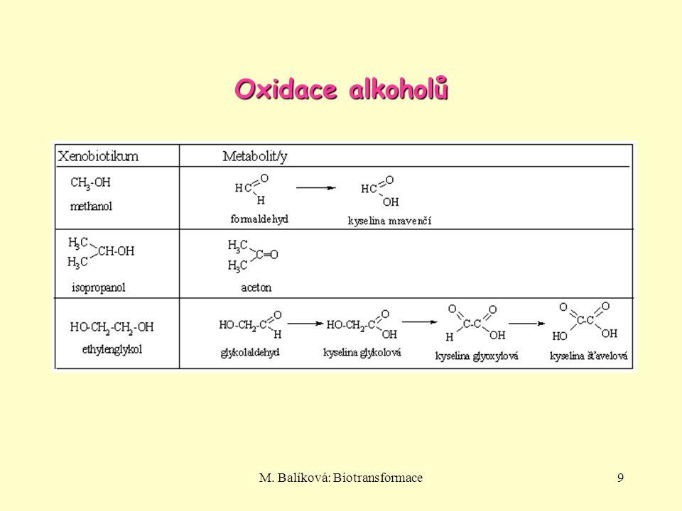 M. Balíková: Biotransformace9 Oxidace alkoholů