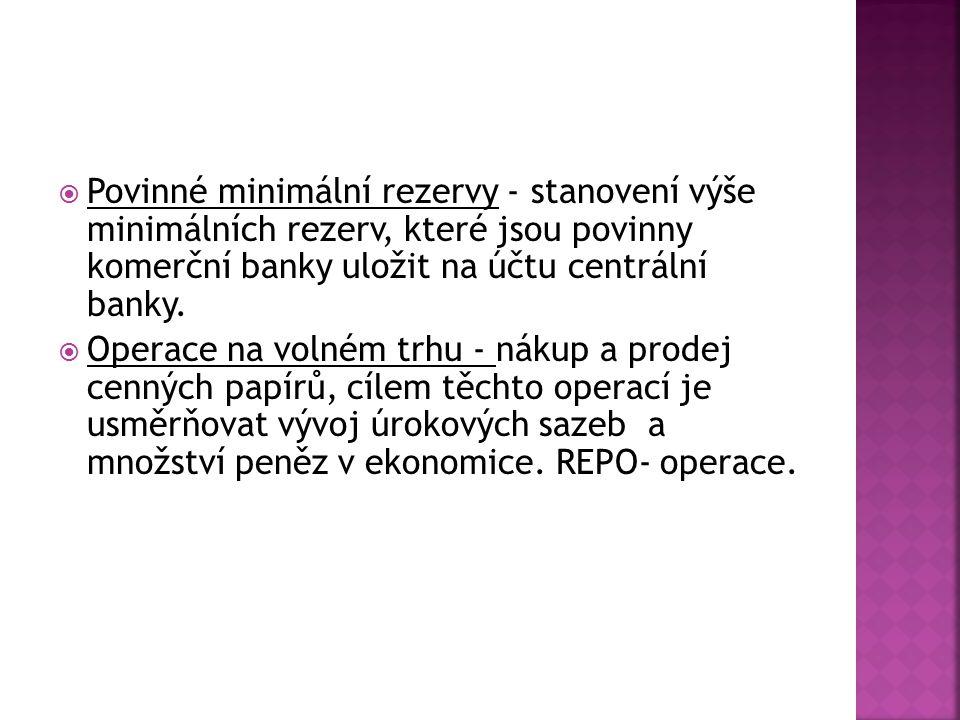  Povinné minimální rezervy - stanovení výše minimálních rezerv, které jsou povinny komerční banky uložit na účtu centrální banky.  Operace na volném