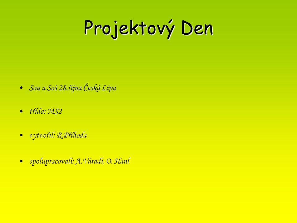 Projektový Den Sou a Soš 28.října Česká Lípa třída: MS2 vytvořil: R.Příhoda spolupracovali: A.Váradi, O. Hanl
