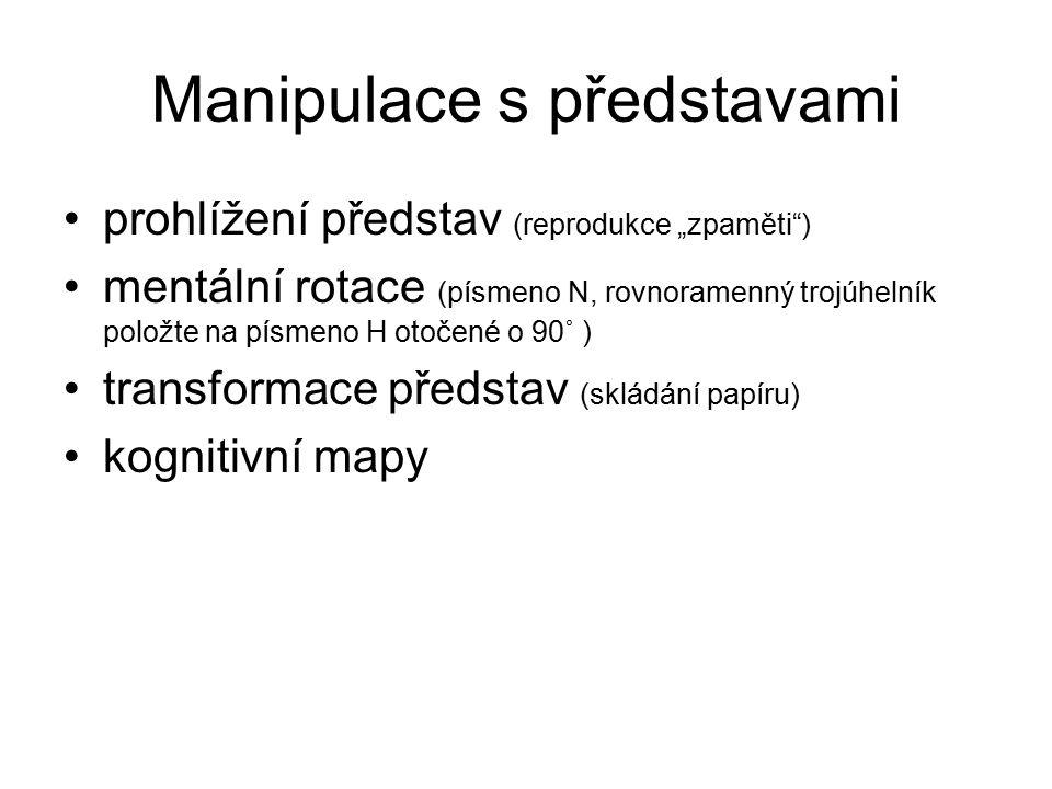"""Manipulace s představami prohlížení představ (reprodukce """"zpaměti"""") mentální rotace (písmeno N, rovnoramenný trojúhelník položte na písmeno H otočené"""