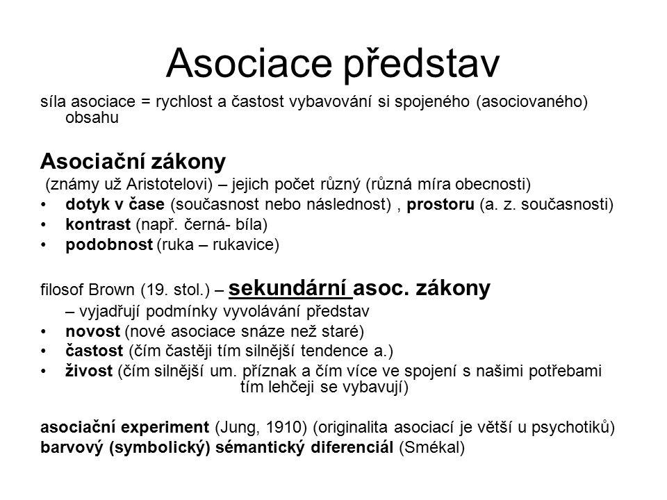 Asociace představ síla asociace = rychlost a častost vybavování si spojeného (asociovaného) obsahu Asociační zákony (známy už Aristotelovi) – jejich p