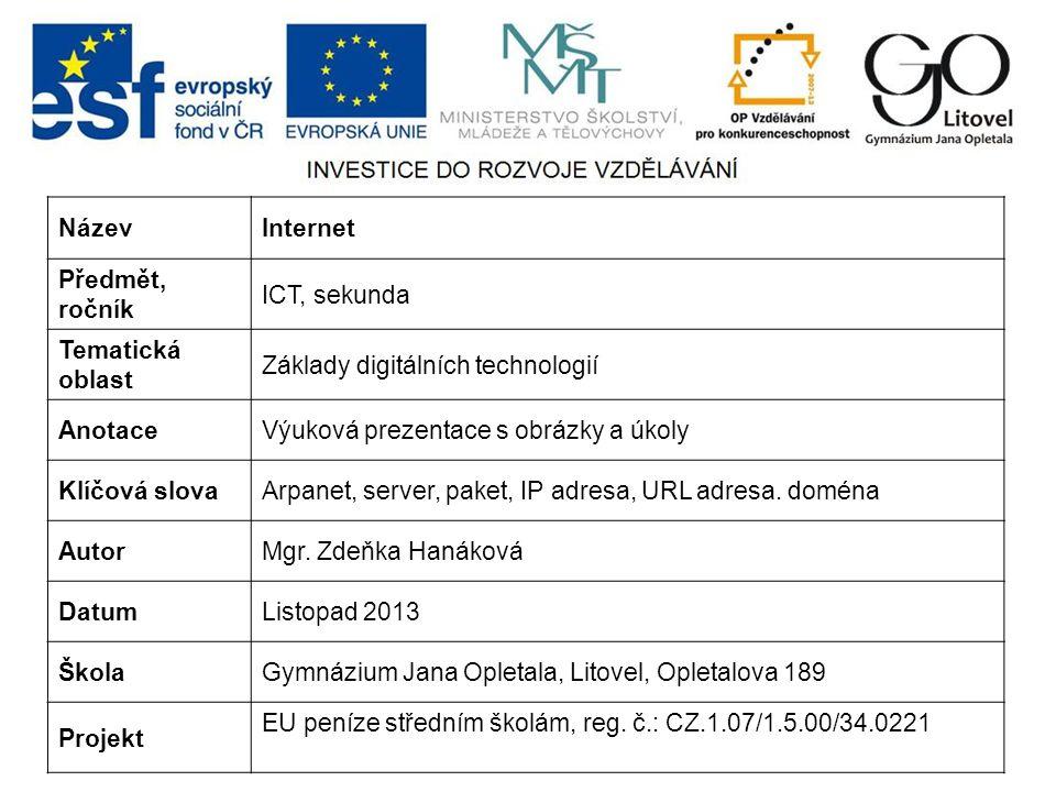 NázevInternet Předmět, ročník ICT, sekunda Tematická oblast Základy digitálních technologií AnotaceVýuková prezentace s obrázky a úkoly Klíčová slovaArpanet, server, paket, IP adresa, URL adresa.
