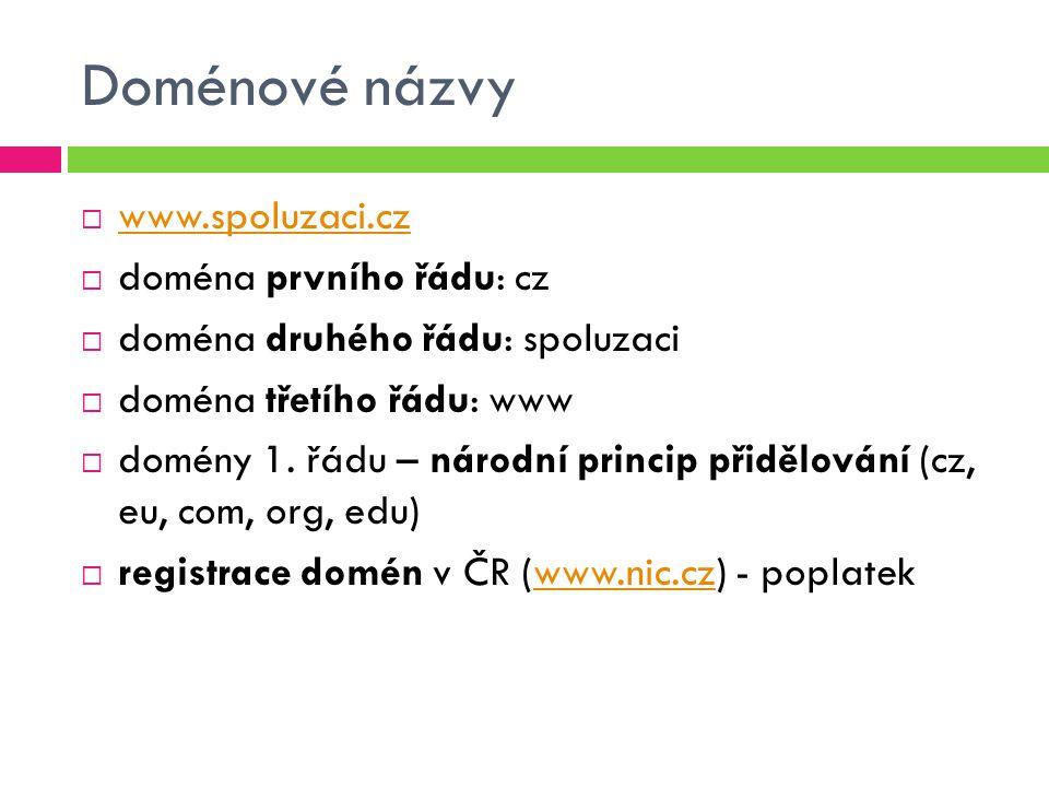 Doménové názvy  www.spoluzaci.cz www.spoluzaci.cz  doména prvního řádu: cz  doména druhého řádu: spoluzaci  doména třetího řádu: www  domény 1.