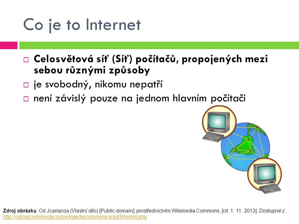 Co je to Internet  Celosvětová síť (Síť) počítačů, propojených mezi sebou různými způsoby  je svobodný, nikomu nepatří  není závislý pouze na jednom hlavním počítači Zdroj obrázku: Od Jcarranza (Vlastní dílo) [Public domain], prostřednictvím Wikimedia Commons.