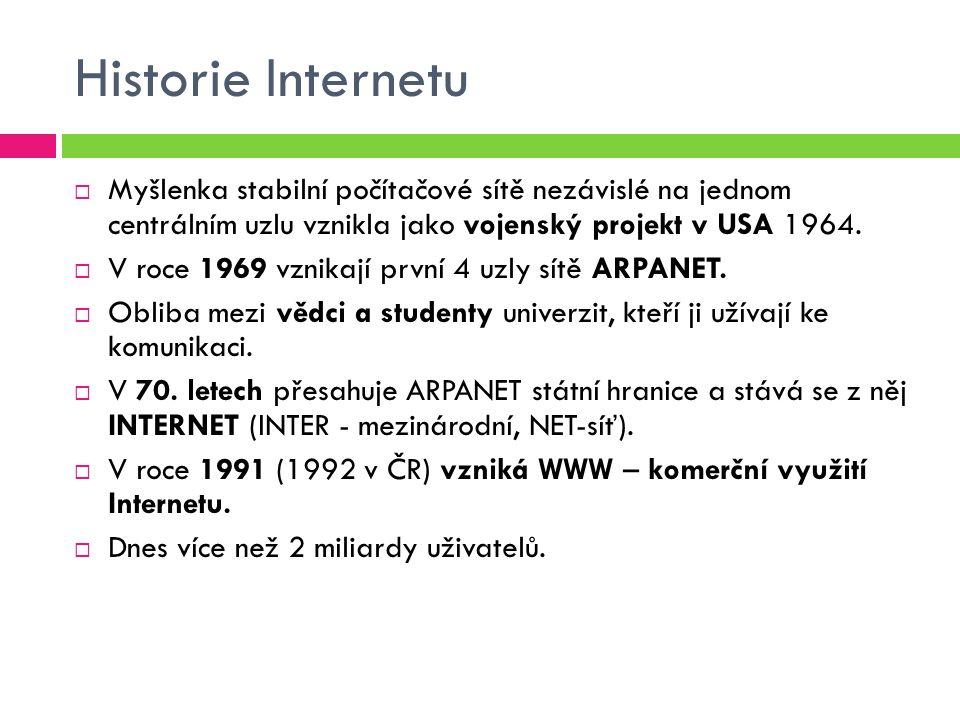 Historie Internetu  Myšlenka stabilní počítačové sítě nezávislé na jednom centrálním uzlu vznikla jako vojenský projekt v USA 1964.