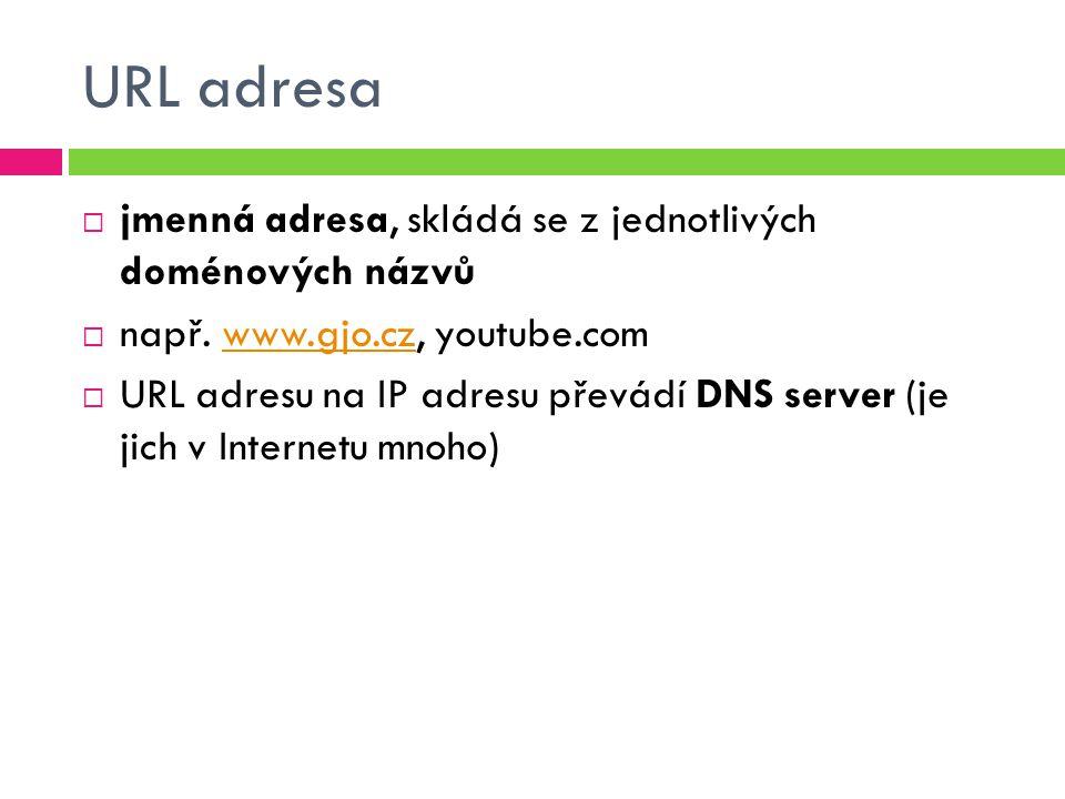 URL adresa  jmenná adresa, skládá se z jednotlivých doménových názvů  např.