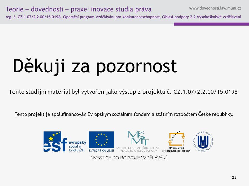 Děkuji za pozornost Tento studijní materiál byl vytvořen jako výstup z projektu č. CZ.1.07/2.2.00/15.0198 23 Tento projekt je spolufinancován Evropský