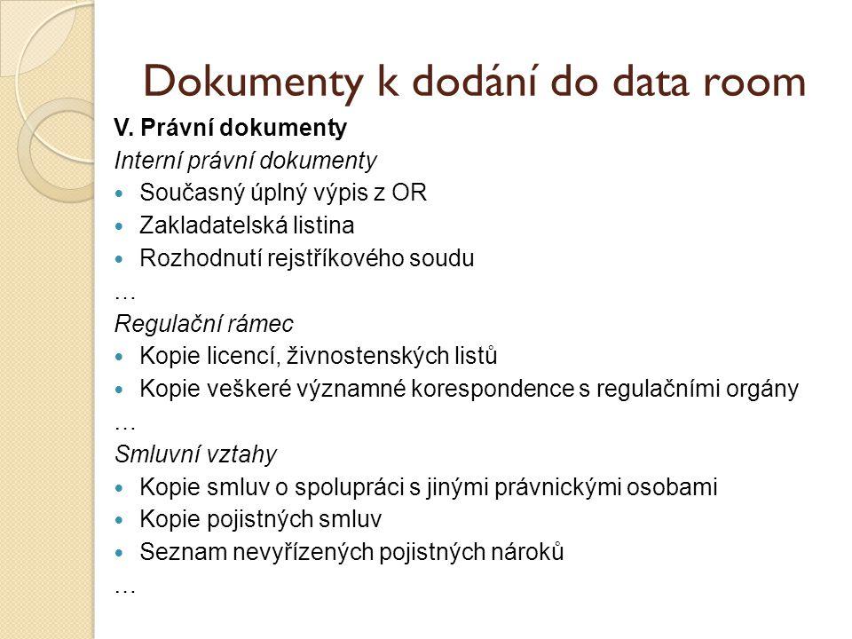 Dokumenty k dodání do data room V.