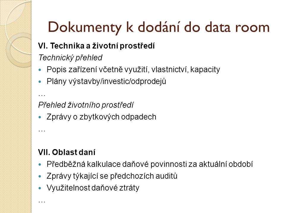 Dokumenty k dodání do data room VI.