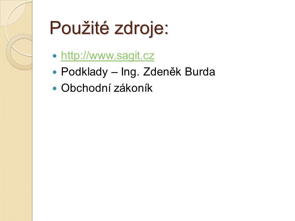 Použité zdroje: http://www.sagit.cz Podklady – Ing. Zdeněk Burda Obchodní zákoník