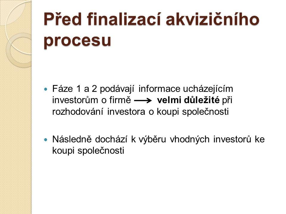 Před finalizací + finalizace akvizičního procesu Fáze 3 Cíl:Jednání s investorem/investory, kteří předložili nejvýhodnější závaznou nabídku, o konkrétních podmínkách transakce Neúspěšní investoři – navrátí všechny důvěrné informace, jež jim byly poskytnuty Prodávající a úspěšný investor podrobně vyjednávají hlavní podmínky transakce: podrobnosti o ceně, formu a načasování úhrady, jakékoliv další podmínky k přiložení a načasování výměny a dokončení transakce;