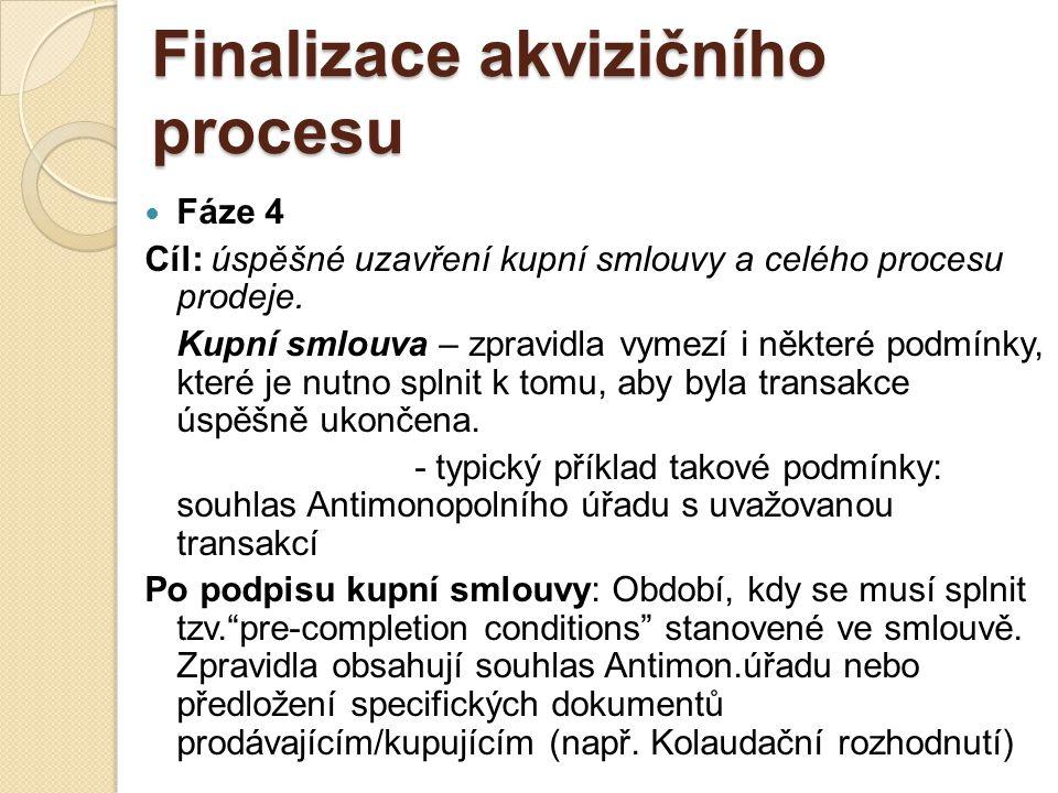 Finalizace akvizičního procesu Fáze 4 Cíl: úspěšné uzavření kupní smlouvy a celého procesu prodeje.