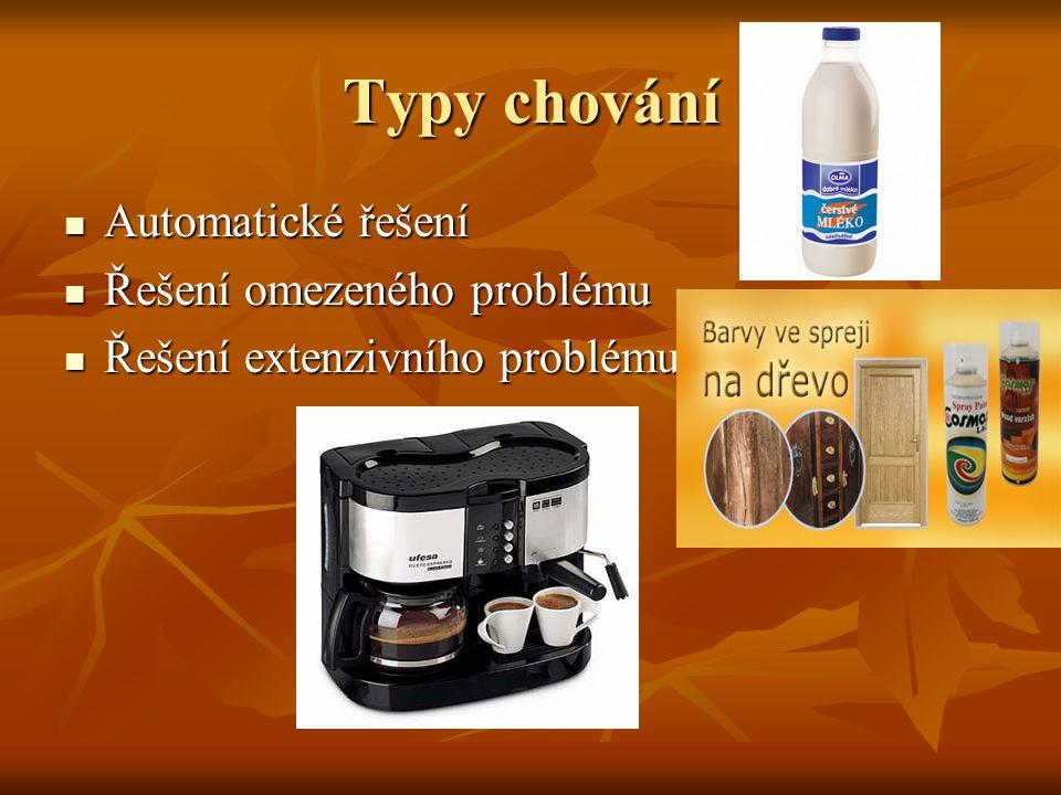Typy chování Automatické řešení Automatické řešení Řešení omezeného problému Řešení omezeného problému Řešení extenzivního problému Řešení extenzivníh