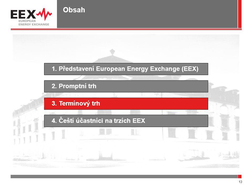 13 Obsah 1. Představení European Energy Exchange (EEX)4. Čeští účastníci na trzích EEX2. Promptní trh3. Termínový trh