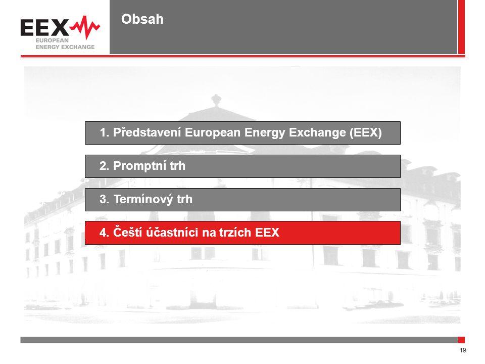 19 Obsah 1. Představení European Energy Exchange (EEX)4. Čeští účastníci na trzích EEX2. Promptní trh3. Termínový trh