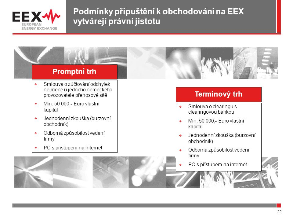 22 Podmínky připuštění k obchodováni na EEX vytvárejí právní jistotu Promptní trh Termínový trh Smlouva o clearingu s clearingovou bankou Min.