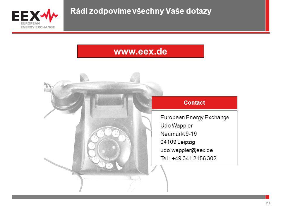 23 Rádi zodpovíme všechny Vaše dotazy Contact European Energy Exchange Udo Wappler Neumarkt 9-19 04109 Leipzig udo.wappler@eex.de Tel.: +49 341 2156 302 www.eex.de