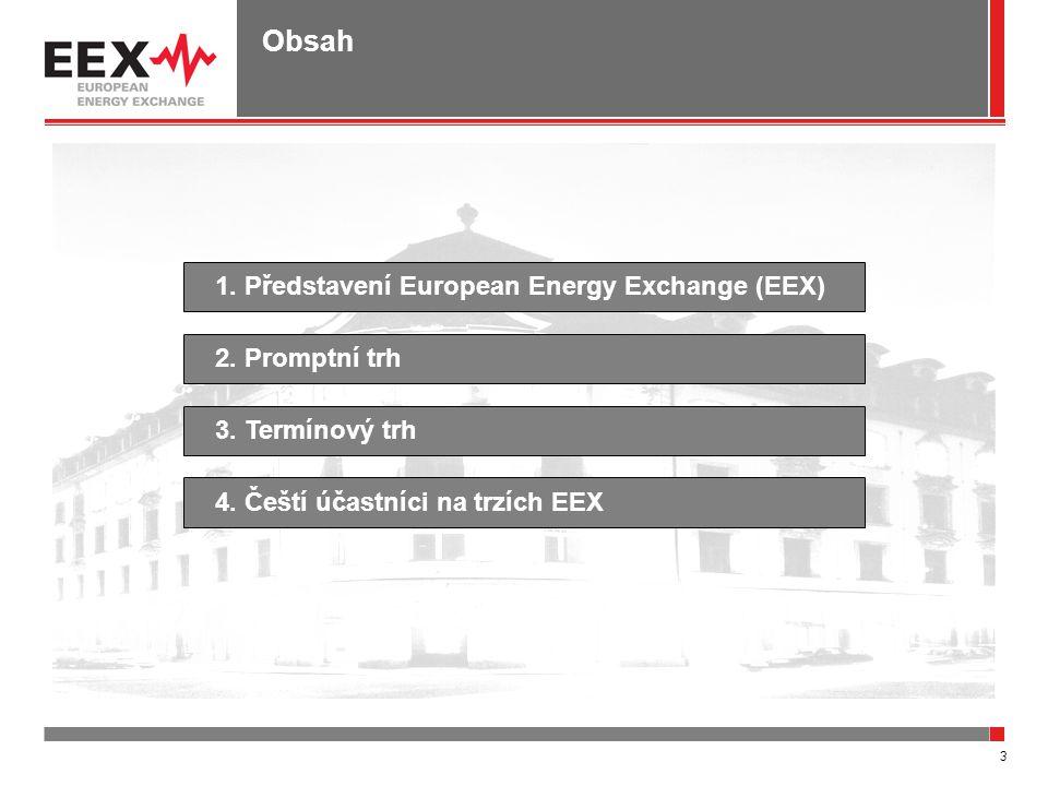 3 Obsah 1. Představení European Energy Exchange (EEX)4. Čeští účastníci na trzích EEX2. Promptní trh3. Termínový trh