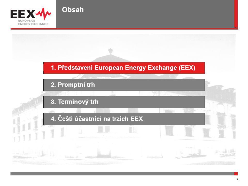 4 Obsah 1. Představení European Energy Exchange (EEX)4. Čeští účastníci na trzích EEX2. Promptní trh3. Termínový trh
